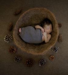 Sesiunile foto cu nou nascuti se realizeaza in primele zile dupa nastere, intre ziua 6-14, cand micutii sunt flexibili si dorm mult. Aceste sesiuni se programeaza in timpul sarcinii si sunt realizate in studiu cu recuzita si decoruri speciale.